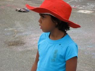 red hat girl in aussie
